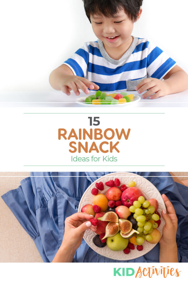 A collection of rainbow themed snack ideas for kids.