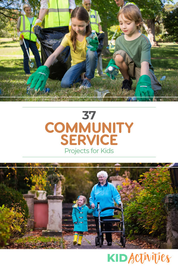 A picture of kids picking up trash from a yard and another picture of a girl walking an elderly person. Text reads 37 community service projects for kids.