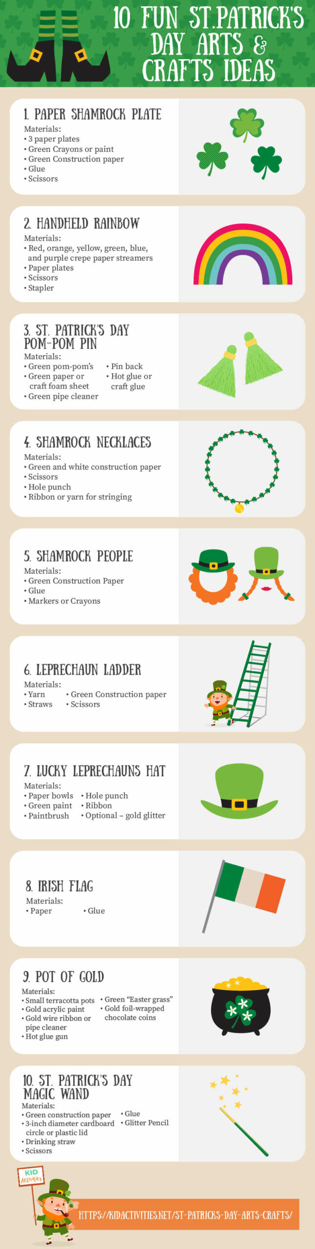 An infographic with 10 St. Patrick's Day arts and crafts ideas including what materials are needed.
