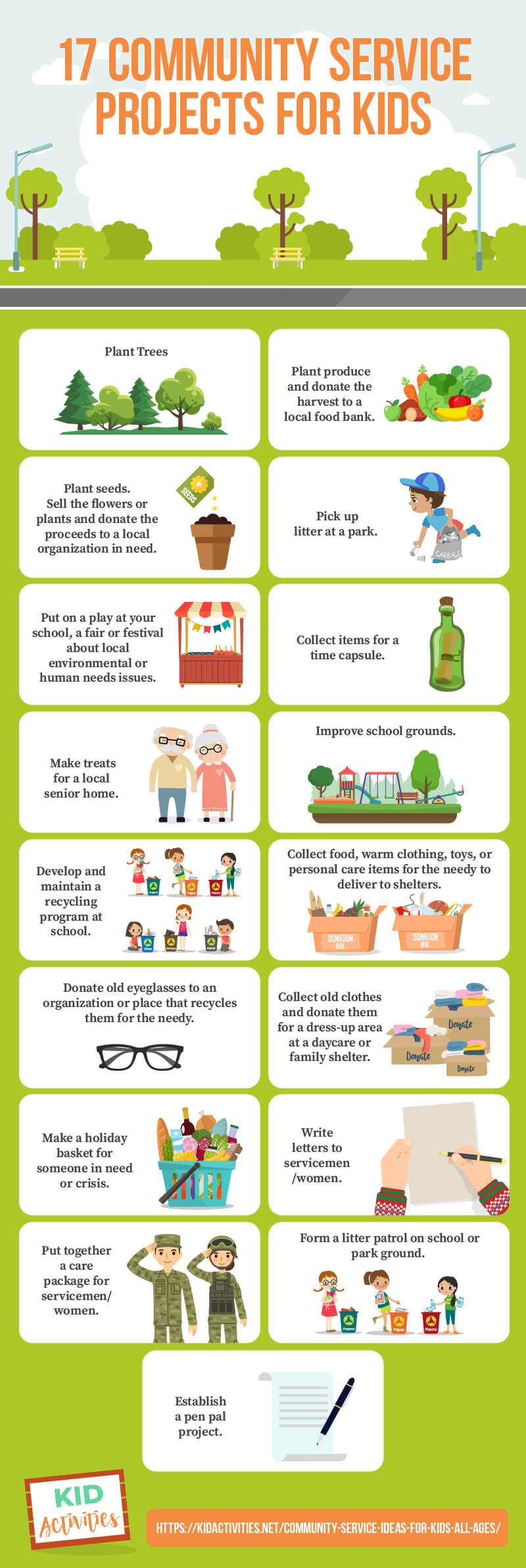 An infographic listing different community service project ideas for kids. The ideas are listed out in the article. The text reads 17 community service project ideas for kids.