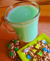 Green milk for kids on St Patrick's Day.