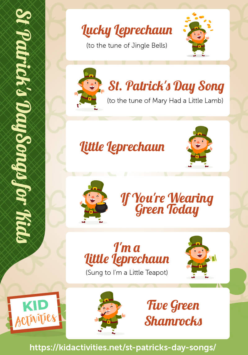An infographic with 6 St Patrick's Day songs for kids to sing. Great for singing in the classroom at a St Patrick's Day celebration.