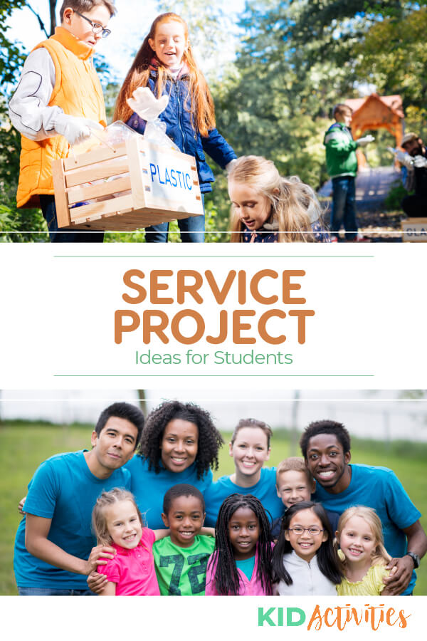 Various images of students doing volunteer work. Text reads 37 service project ideas for students.