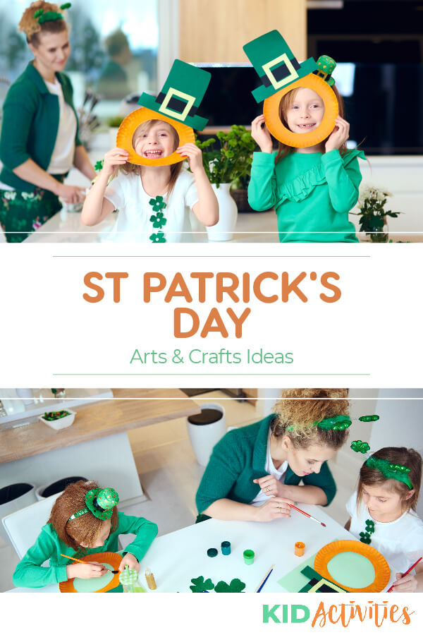 St. Patrick's Day arts and crafts ideas for preschool and elementary age kids.