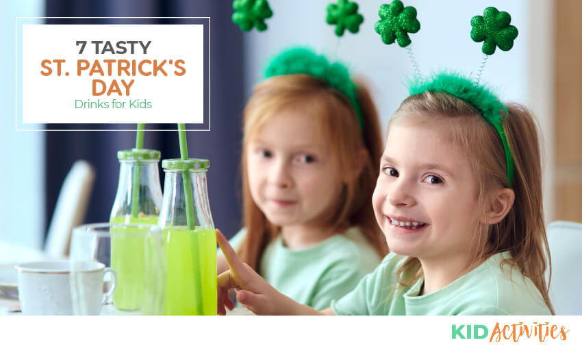 A collection of St Patrick's Day drinks for kids.