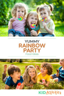 A collection of rainbow colored foods perfect for that rainbow themed party.