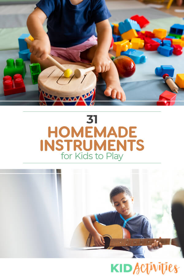 A collection of 31 homemade instrument ideas for kids. Great for the classroom or at home.