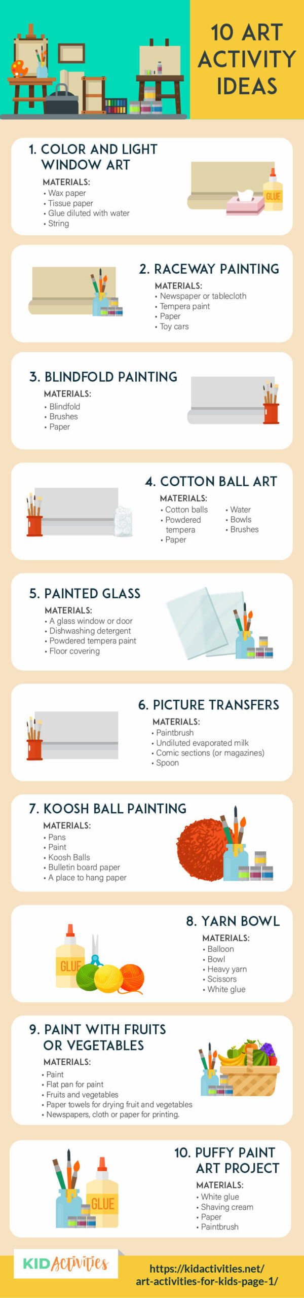 An animated infographic with 10 art activity ideas for young kids. Great for preschool and elementary ages. The 10 activities are listed within the post