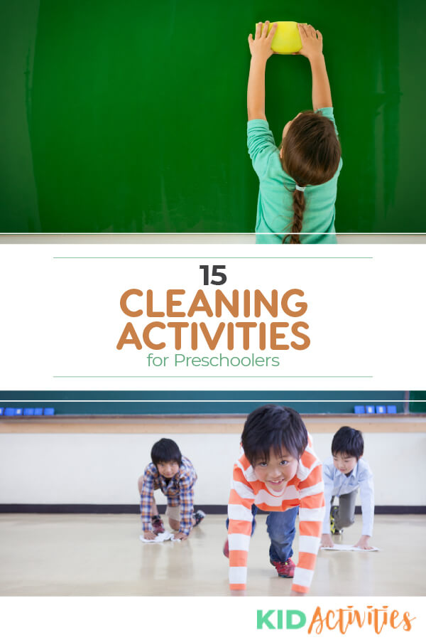 A collection of 15 cleaning activities for preschoolers and young children. Use these ideas to teach kids how to clean and build the habit of picking up after oneself.