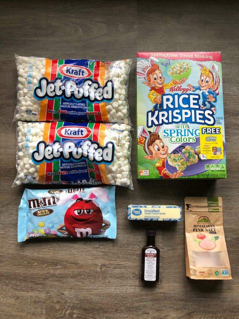 The ingredients used to make Easter Rice Krispie treats.