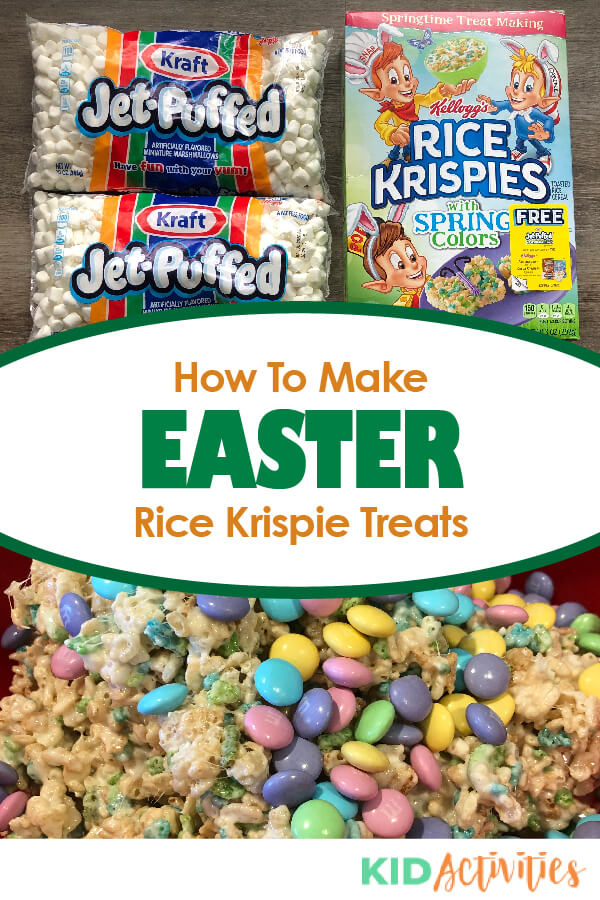 Learn how to make Easter themed Rice Krispie treats. A fun Easter snack and activity.