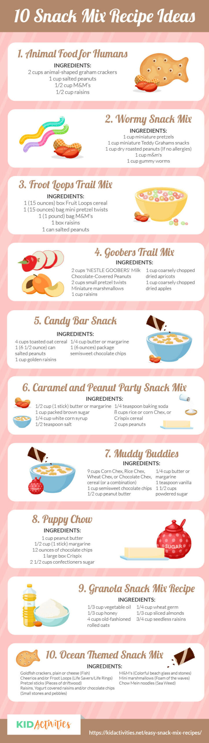 An infographic with 10 snack mix recipe ideas. Great to make with kids in the classroom or at home.
