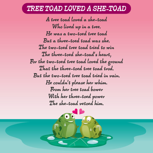A picture of frogs on a lily pad with the tree toad loved a she-toad written on it.