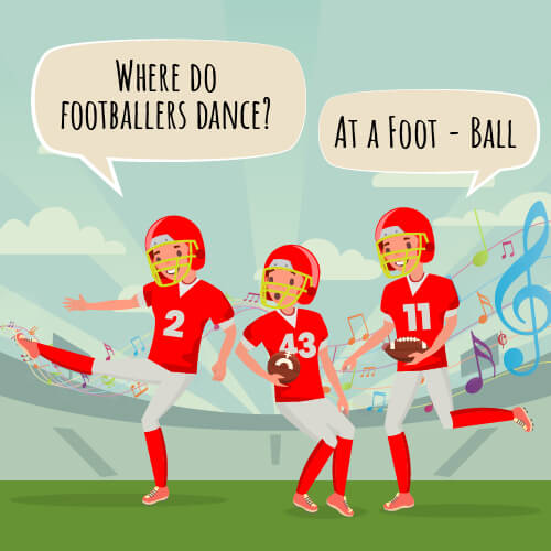 "A picture of three football players with the joke on the picture saying ""where do footballers dance?"""