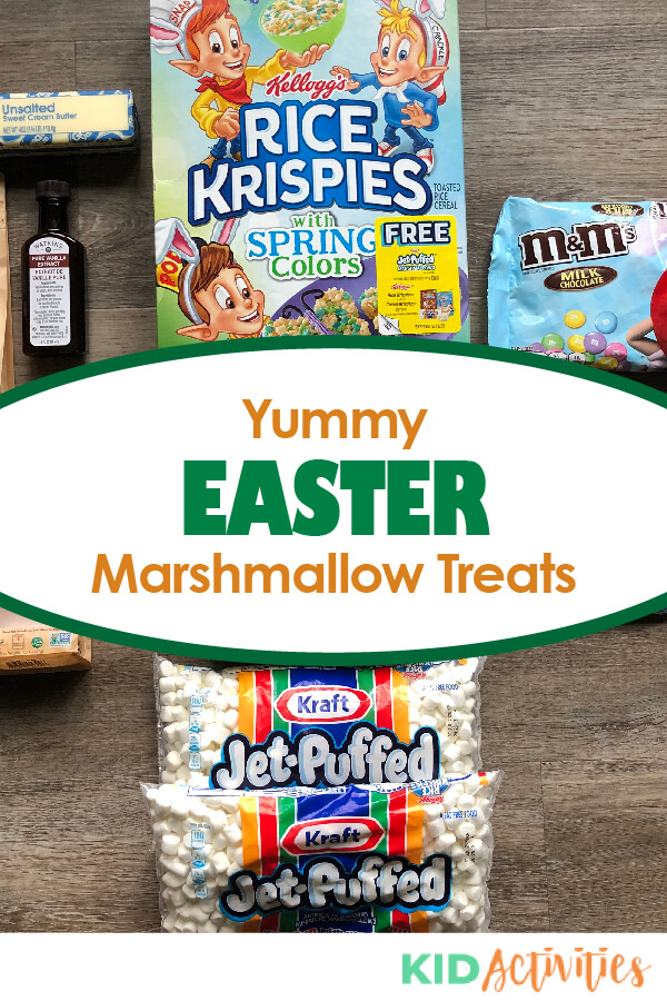 Instructions on how to make Easter marshmallow treats.