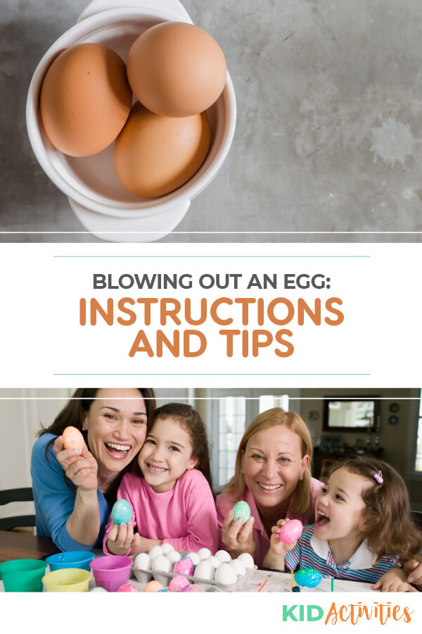 Step by step instructions for blowing out an egg.