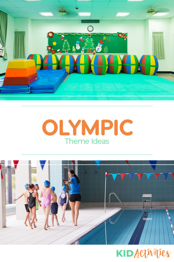 A Pinterest image with two different pictures. One of an exercise room with different types of exercise equipment and mats and another of a group of young swimmers and a teacher walking along side a pool. Text reads Olympic theme ideas.