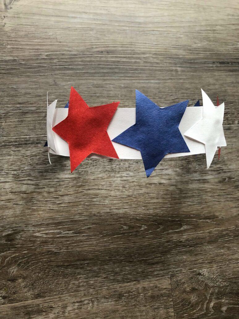 The stars glued to the patriotic headband.