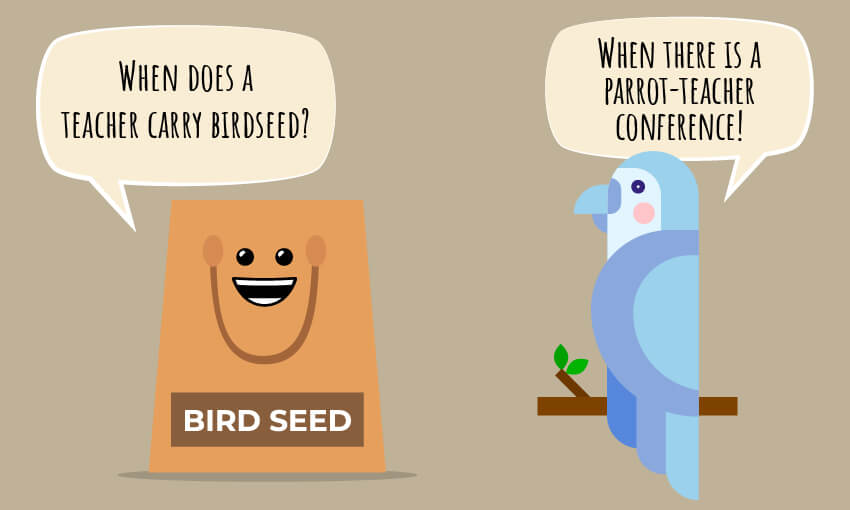 "An animated picture of a bird and bird seed with the joke ""when does a teacher carry birdseed?"""