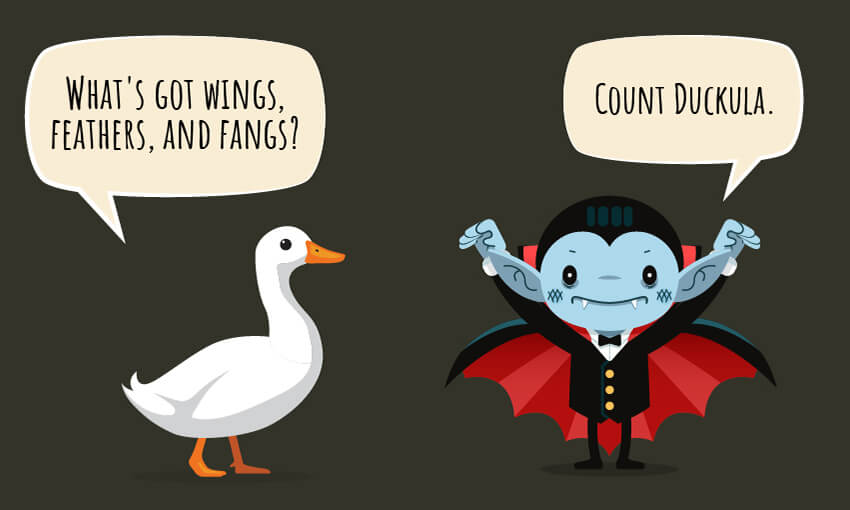 "A animated picture of a duck and a vampire with the joke ""what's got wings, feathers, and fangs?"""