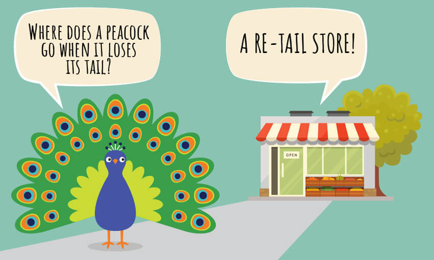 "An animated picture of a store and a peacock with the joke ""where does a peacock go when it loses it's tail?"""