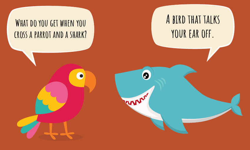 "A animated picture of a parrot and a shark with the joke ""what do you get when you cross a parrot and a shark?"""