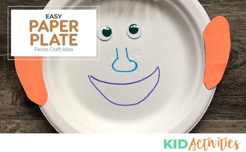 An image of the finished paper plate face craft with text that reads easy paper plate faces craft idea.