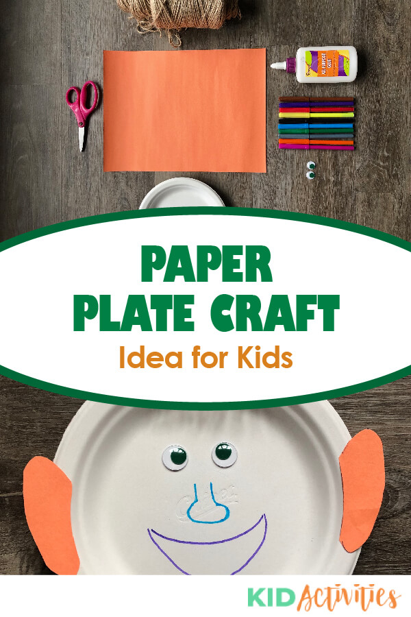 A Pinterest image of the finished paper plate craft and the materials needed to make it. Text reads paper plate craft ideas for kids.